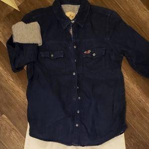 Hollister linen pinstripe button up shirt